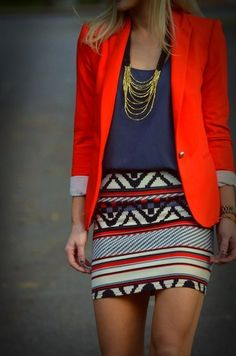 Trend: Red Blazers & Geometric Prints