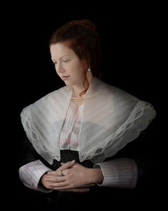 Suzanne Jongmans // Dame Met Parels, 2009  Picture with costume on recycled material illustrating classic Flemish painting