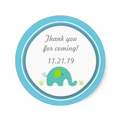 Small Blue Elephant Baby Shower Favor Stickers
