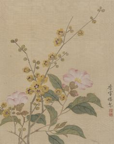 Yun Bing(恽冰) , 清 恽冰 花卉图 Chinese Prints, Chinese Art, Japanese Artwork, Chinese Calligraphy, Garden Gate, Traditional Paintings, Chinese Painting, Ink Art, Asian Art
