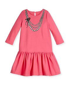 tromp l'Oeil pearls jersey dress, coral, size 2-6