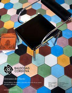 Baldosas hexagonales 20x20 en mix de colores. Baldosas Córdova . #baldosascordova #artesanosdeltiempo #artesanos