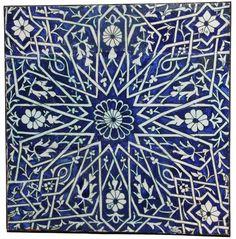 Ceramic panel with radiating star design, Central Asia, 19th century