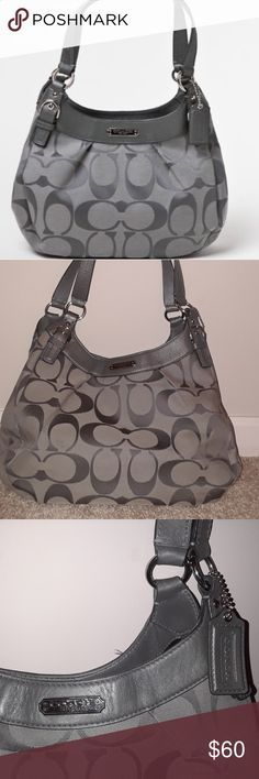 COACH Soho signature gray hobo purse This purse is preowned in good condition. There are three different compartments. Two have a snapping mechanism and the other closes with a zipper. There are pockets within each! This purse is gray. It has some signs of use through spots on the front, bottom, and back (pictured above). There is also some stains- white (in two of the compartments).other than these minor issues the bag is great! Leave comments if you have any questions! Coach Bags Hobos