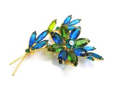Blue and Green Flower Brooch Open-back by AtticDustAntiques