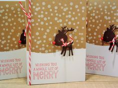 Reindeer Christmas Cards Set of 3 Rudolph Holiday by apaperaffaire