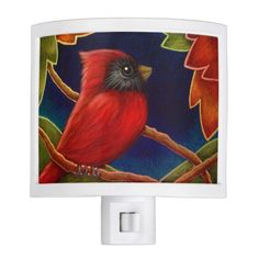 RED CARDINAL BIRD, AUTUMN LEAVES NIGHT LIGHT