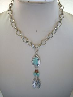 Antique Silver Pendant with Turquoise Brown by DesignsbyPattiLynn