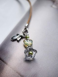 Beaded Bookmark Stylish BRIDAL PARTY GIFT or Wedding Favor Romantic beaded bookmark with Puffy Flower beads - Crystal Clear - czech glass pressed beads, Bell flower bookmark. Great as valentines day gift. Crystal clear and soft neutral tons of pearls and glass beads with silver