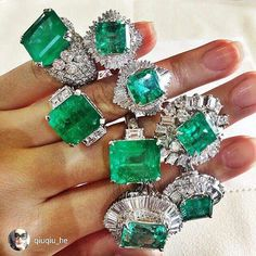Go green with these spectacular #emeraldsanddiamonds rings from @qiuqiu_he