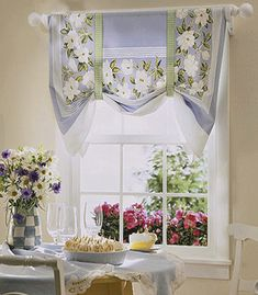 Whether you're looking for casual curtains or something a little more formal, these DIY window treatments are sure to hit the spot. We have ideas for valances, shutters, curtains, and more. Kitchen Curtain Designs, Modern Kitchen Curtains, Kitchen Window Curtains, Kitchen Window Treatments, Shabby Chic Kitchen, Diy Kitchen, Country Kitchen, Kitchen Valances, Room Window