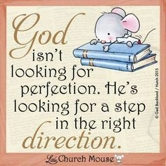 God isn't looking for Perfection. Little Church Mouse 18 Feb.