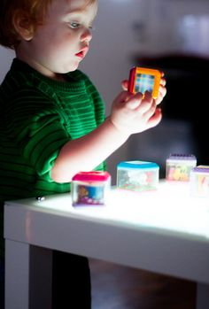 toddler light table play