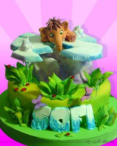 Love ice age anything Fondant Cakes, Cupcake Cakes, Cupcakes, Ice Age Cake, Bolo Fack, Movie Cakes, Baby Girl Cakes, Dinosaur Cake, Character Cakes