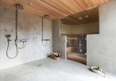 Satine 1 Modern Shower, Modern Bathroom, Brookfield Homes, Cement Bathroom, Walk Through Shower, Sauna Shower, Sauna Design, Spa Rooms, Sauna Room