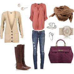 Love everything! Colors, skinny jeans matched with slouchy shirt and cardigan- boots are to die for! <3