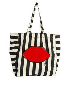 Lulu Guinness Striped Foldaway shopper Bag