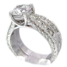 14k white gold round cut diamond engagement ring and by KNRINC, $4699.00