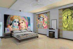 Wow...painted Hindu bedroom in India