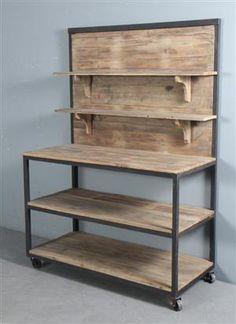 Vare: 3844040 Rullebord på hjul med hylder, rustik patineret stål.
