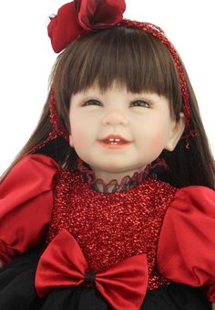 78.48$  Buy now - http://alic7e.worldwells.pw/go.php?t=32495763887 - 22inch 55cm silicone reborn baby dolls long brown hair red dress baby alive bonecas best toys for girls