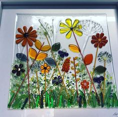 Biggest flower meadow so far at . can make similar in your colours by request picture# folksey Fused Glass Ornaments, Fused Glass Plates, Fused Glass Jewelry, Fused Glass Art, Stained Glass Art, Glass Fusion Ideas, Glass Fusing Projects, Glass Picture Frames, Kiln Formed Glass