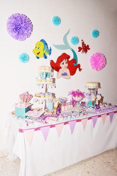 Mesita de Snack La Sirenita  #Partyideas #Party #Fiesta #Sirenita