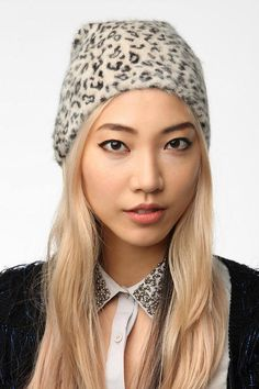 deena & ozzy slouchy angora beanie - comes in leopard and tiger print