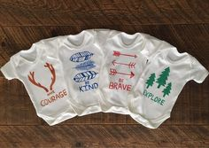Forest Baby Gift Set Organic Cotton Bodysuit Set - Forest Themed Baby Clothes - Outdoors Baby - Woodland Baby Boy Gift - Forest Baby by CraftsbyKatieL on Etsy Baby Gift Sets, Baby Boy Gifts, Organic Baby, Organic Cotton, Keepsake Quilting, Woodland Baby, Baby Bodysuit, Crafts, Outdoors