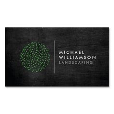 Modern Gardener Landscaping Logo on Black Wood Business Card Templates - The green shrub is a unique and eye-catching graphic set next to clean, modern type for your name or business name. Set on a dark wood background for a rustic look. Personalize with your own info and see an instant online preview - click the image to try for yourself. Designed by 1201AM Paper Goods.