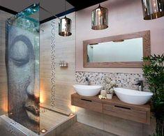 Arredare il bagno in stile etnico - Parete doccia con Buddha