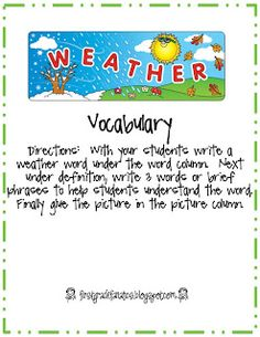 weather...weather vocab book with pics to glue in