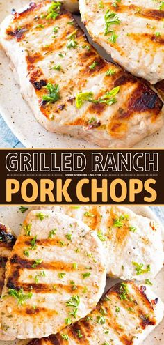 This boneless grilled pork chop recipe is the perfect quick and easy dinner idea for the family! Tender, juicy, and delicious flavored with ranch seasoning. Plus, it only needs 3 ingredients and 20 minutes! Save this pin! Healthy Pork Recipes, Pork Recipes For Dinner, Summer Grilling Recipes, Easy Homemade Recipes, Easy Chicken Recipes, Grilling Ideas, Grill Recipes, Summer Recipes, Easy Family Meals