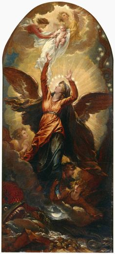 """divinus-washington: """"The Woman Clothed with the Sun Fleeth from the Persecution of the Dragon by Benjamin West, ca. 1797, Princeton University Art Museum. """""""