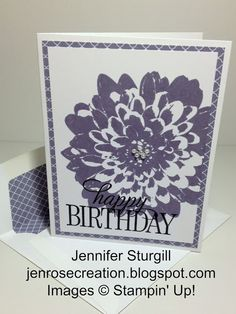 Definitely Dahlia for Birthday and a Wedding Card by jenrosecreation.blogspot.com, Stampin' Up!, Happy Birthday Everyone, Definitely Dahlia, Wisteria Wonder