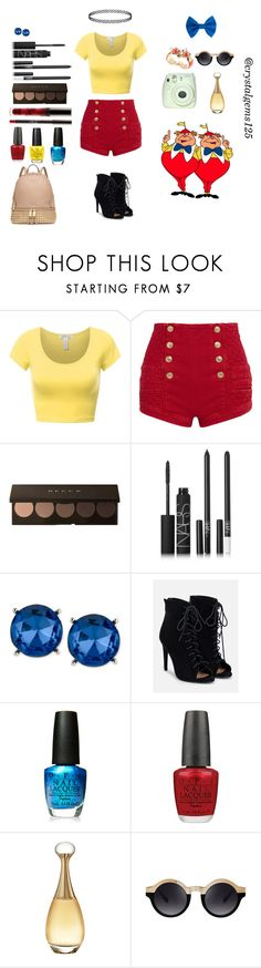 """""""Tweedle dee and Tweedle dum"""" by crystalgems125 ❤ liked on Polyvore featuring Pierre Balmain, NARS Cosmetics, Kenneth Cole, JustFab, OPI, Christian Dior and Michael Kors"""