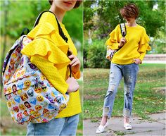 Sweaters And Jeans, Ripped Jeans, Romwe, Fashion Bags, Yellow, Style, Tattered Jeans, Swag, Fashion Handbags