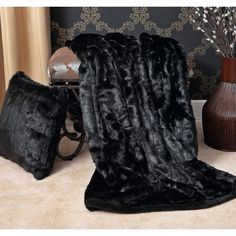 Features: -Faux fur is incredibly soft and plush with super soft microfiber backing. -Dry cleaning is recommended. Dimensions: Overall Product We Faux Fur Blanket, Faux Fur Throw, Bedroom Black, Black Bedding, Bedroom Colour Palette, Winter Blankets, Dream House Interior, Home Fashion, Accent Pieces