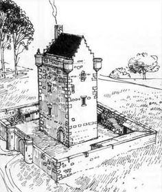 Another great drawing of a peel tower with cottages etc inside its barmekin.