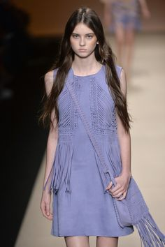 A lilac suede fringed shift with bag to match was simple but oh so dreamy. @AlbertaFerretti #MFW #SS15