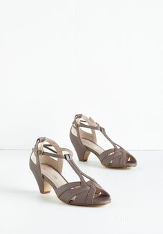 Architectural Tour Heel in Cement. You love to show off the beauty of your hometown through the citys renowned architecture - and you do it in your own well-designed style with these stone-grey heels from Chelsea Crew! #tan #modcloth