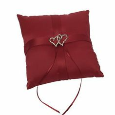 With All My Heart Ring Bearer Pillow - Red