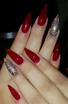 70 Gorgeous Red Nail Art Designs For Stylish Women Page 25 of 70 - Nails Red Stiletto Nails, Red Acrylic Nails, Red Nail Art, Coffin Nails, Acrylic Art, Pointed Nails, Trendy Nails, Cute Nails, My Nails