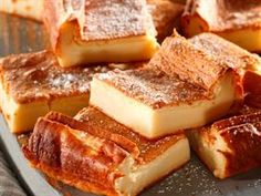 Crustless Milk Tart Slices: The creamy, velvety texture will have everybody hooked in one bite. Custard Recipes, Tart Recipes, Sweet Recipes, Baking Recipes, Dessert Recipes, Oven Recipes, Milk Recipes, Bread Recipes, Cookie Recipes