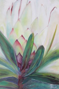 """Saatchi Art is pleased to offer the collage, """"White Protea,"""" by Adele Fouche. Original Collage: Paint on Canvas. Size is 0 H x 0 W x 0 in. Protea Art, Protea Flower, Art Floral, Acrylic Art, Acrylic Painting Canvas, Floral Illustrations, Flower Art, Art Flowers, Watercolor Flowers"""