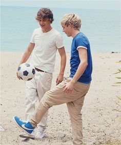 Liam and Niall playing soccer