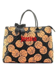 "Personalized Basketball 21"" Large Quilted Tote Bag - Black"