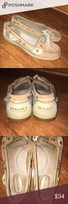 LAST CHANCE for Sperry Shoes. DELETING ACCT Authentic Sperry Boat Shoe. Super cute and gently used! Colors are tan and cream with a Taupe design along each side of the shoe. Size 6.5 women's. Some marks along the edges of each shoe from wear. No holes or major damages to the pair. Sperry Top-Sider Shoes Flats & Loafers