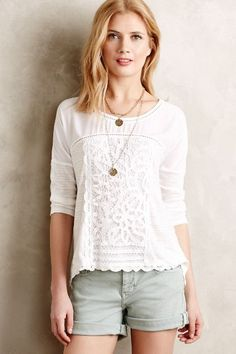 Tayrona Lace Top - anthropologie.com--love the fabric with the lace addition.  Might look better with a little color