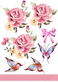 A lovely  A4 sheet  with Lovely pink roses , Butterfly's and ribbon For your Choice of Design